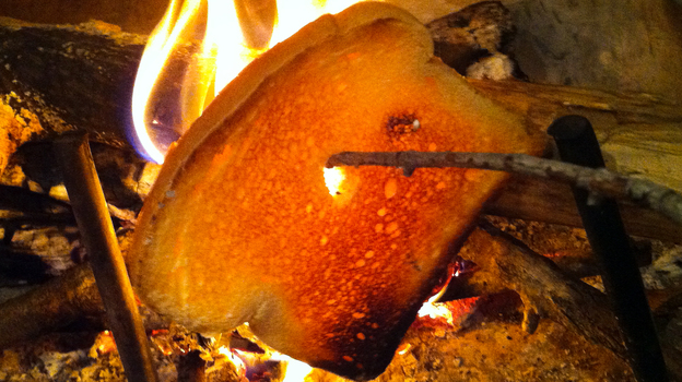 Fire-roasted toast will satisfy the smoke fiends at the breakfast table. (Eliza Barclay/NPR)