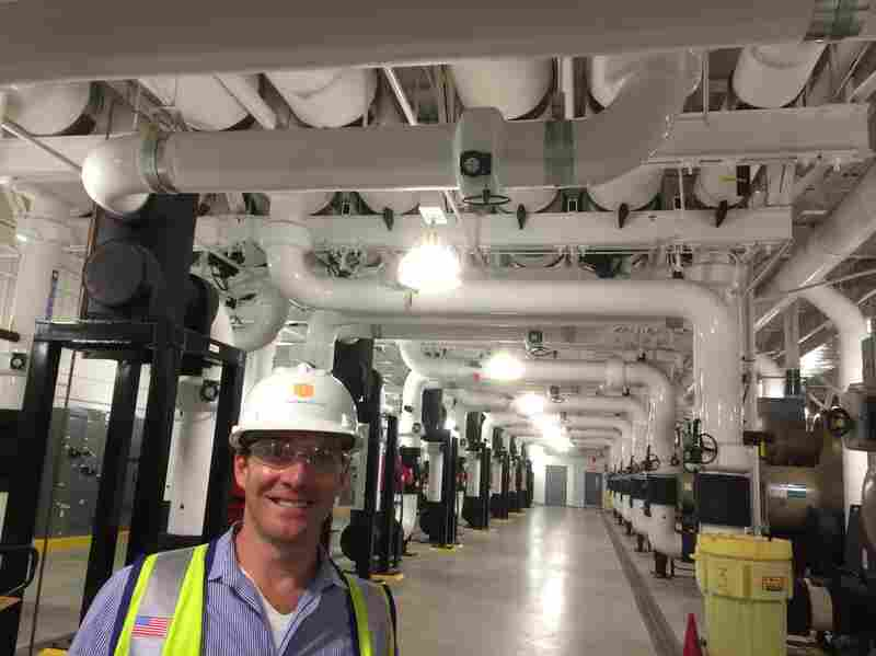 Paul Hopkins, a regional vice president of DuPont Fabros, stands in the chilling plant of the company's newest Silicon Valley data center, dubbed SC1.