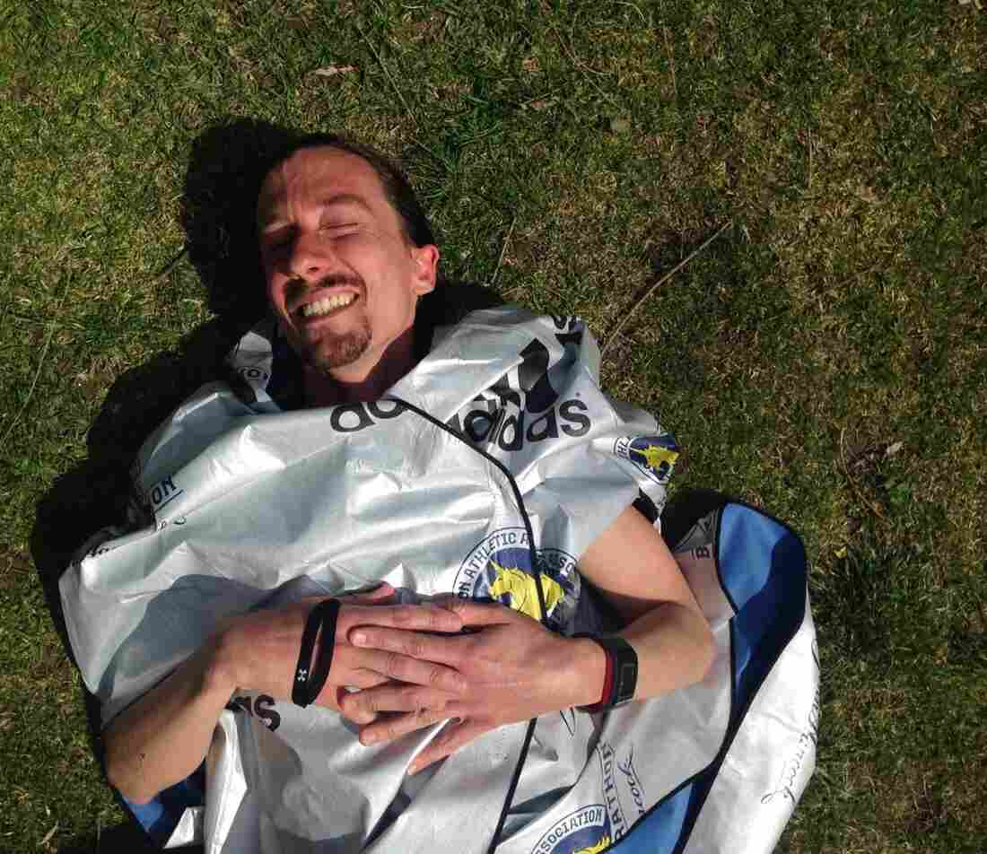Jonny James, 36, of Toronto, after finishing the Boston Marathon.