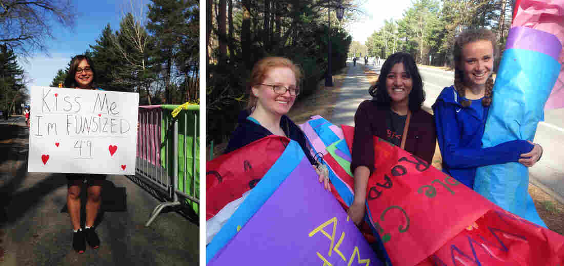 "Left: Wellesley student Sabrina D'Souza says of the school's kissing tradition, ""They're running 26 miles; they deserve something!"" Right: Wellesley students Erin Altenhof-Long (from left), Sravanti Tekumalla and Kendra Waters say it took students a week and a half to create all 800+ signs for the race."
