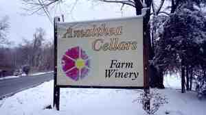 A sign outside Lou Caracciolo's winery, Amalthea Cella