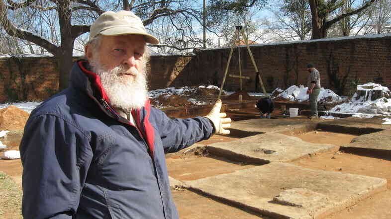 Archaeologist Chester DePratter stands by the site of Camp Asylum, the Civil War-era prison in Columbia, S.C. The site will soon be cleared to make room for a mixed-use development.