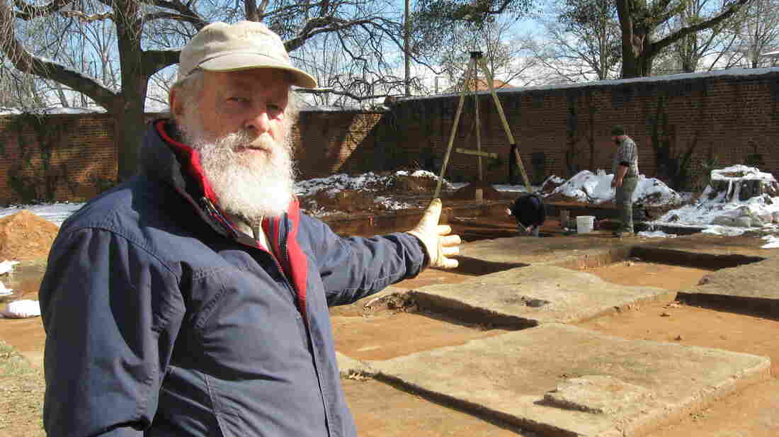 Archaeologist Chester DePratter stands by the site of Camp Asylum, a Civil War-era prison, in Columbia, S.C. The site will soon be cleared to make room for a mixed-use development.