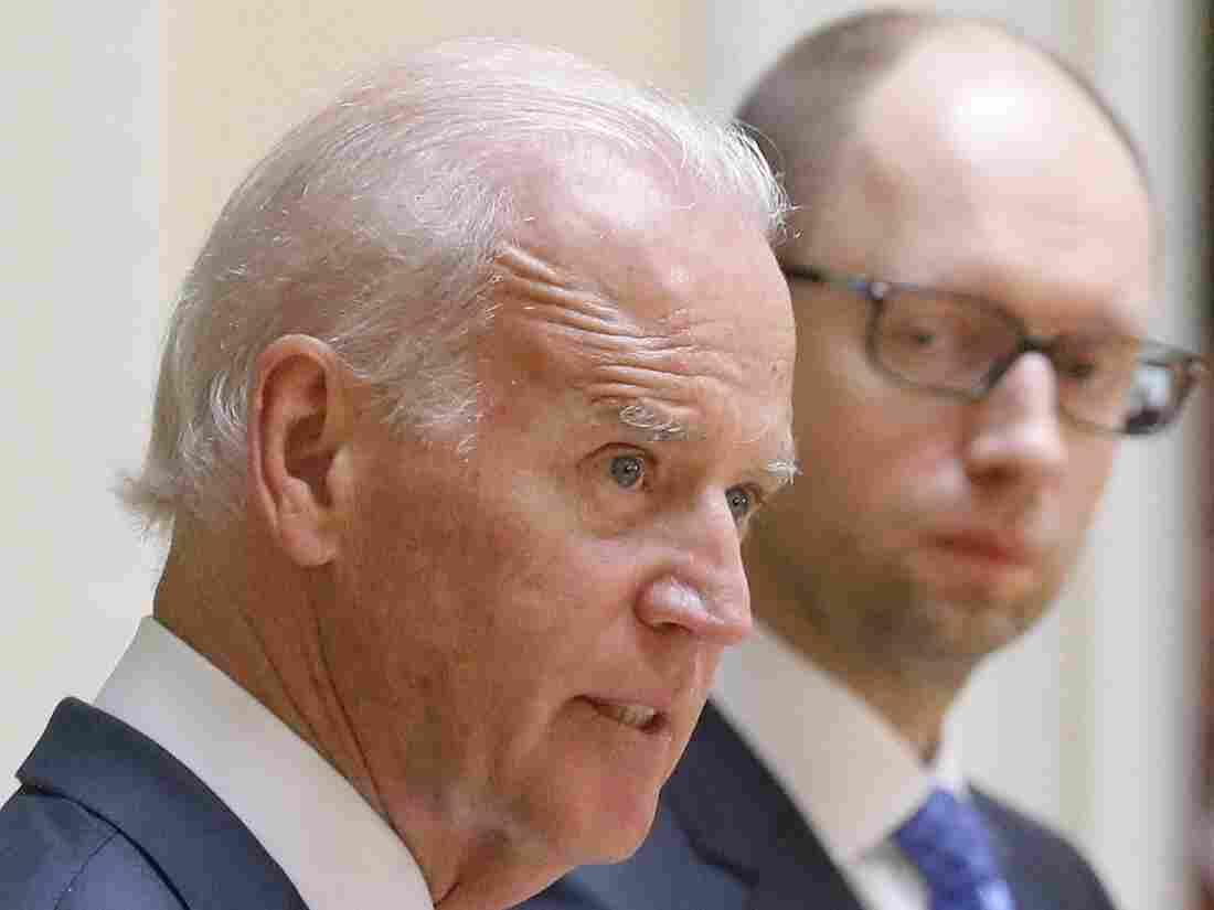 Vice President Biden and Ukrainian Prime Minister Arseniy Yatsenyuk spoke with reporters Tuesday in Kiev.