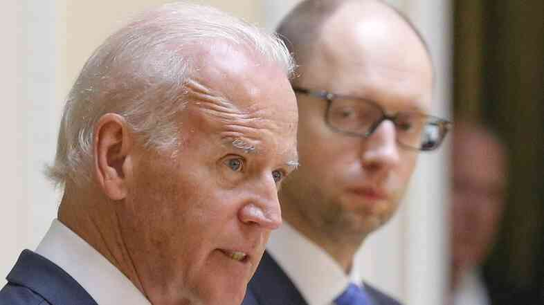 Vice President Biden and Ukrainian Prime Minister Arseniy Yatsenyuk spoke with reporters Tuesday in Kiev.
