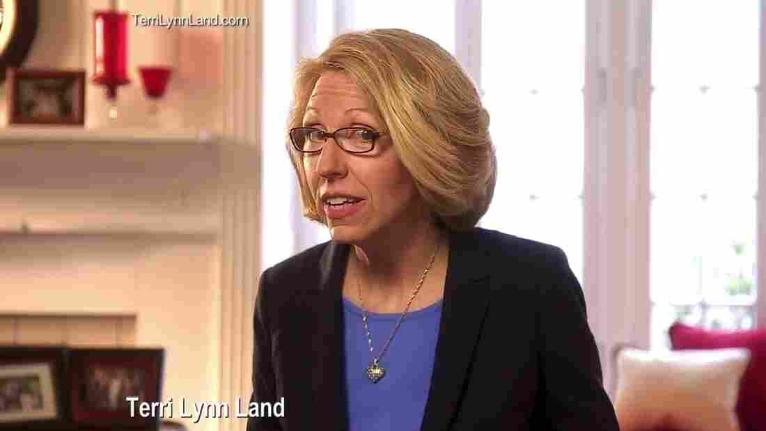 "A scene from Michigan GOP Senate candidate Terri Lynn Land's first TV ad, titled, ""Really?"""