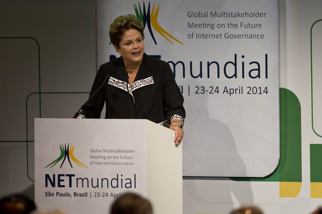 "Brazilian President Dilma Rousseff delivers a speech during the opening ceremony of the ""NETmundial Global Multistakeholder Meeting on the Future of Internet Governance"", on Wednesday in Sao Paulo, Brazil."