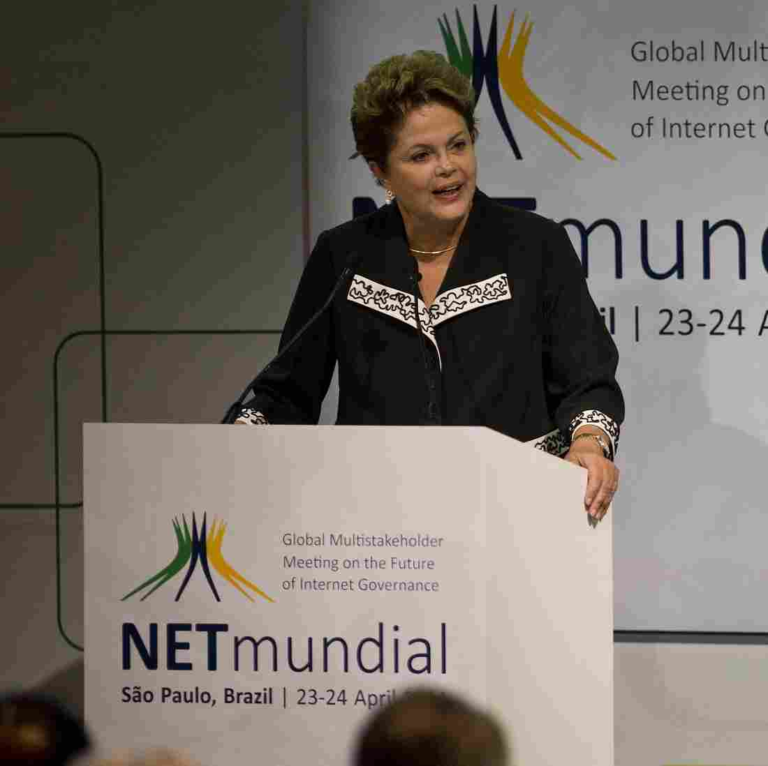 """Brazilian President Dilma Rousseff delivers a speech during the opening ceremony of the """"NETmundial Global Multistakeholder Meeting on the Future of Internet Governance"""", on Wednesday in Sao Paulo, Brazil."""