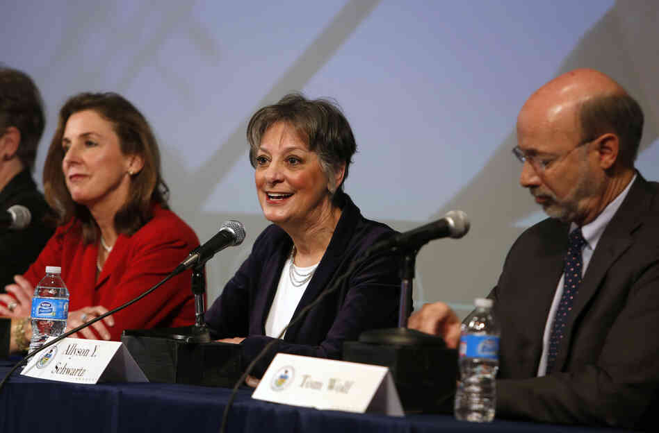 Rep. Allyson Schwartz is flanked  by Katie McGinty, former state environmental protection secretary, and Tom Wolf, a businessman, at a forum for Pennsylvania Democratic candidates for governor.