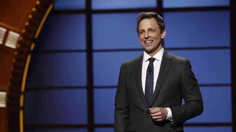 "Seth Meyers hosts the premiere of his talk show, Late Night with Seth Meyers, in February 2014. ""The trickiest part of this job the first week was just figuring out what to do with my hands,"" says, Meyers, who was used to holding a microphone during standup. Remembering that he had pockets was key."