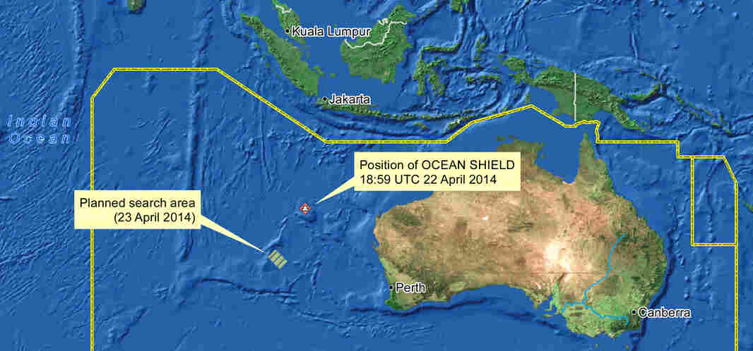 Ships continued to search for Malaysia Airlines Flight 370 on Wednesday. They were looking in an area about 1,000 miles northwest of Perth. Ocean Shield is an Australian ship that has been looking for the jet's black boxes.