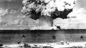 The second atomic bomb test at Bikini Atoll on July 25, 1946. The Marshall Islands, where Bikini is located, is suing the U.S. for what it calls a violation of the Nuclear Non-Proliferation Treaty.