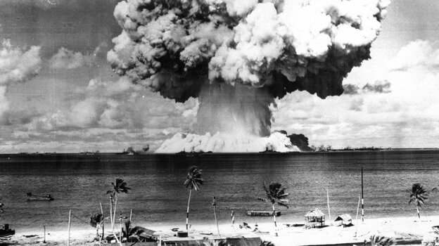 The second atomic bomb test at Bikini Atoll on July 25, 1946. The Marshall Islands, where Bikini is located, is suing the U.S. for w