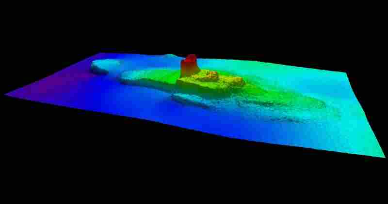 A 2013 multibeam sonar image of the sunken SS City of Chester.