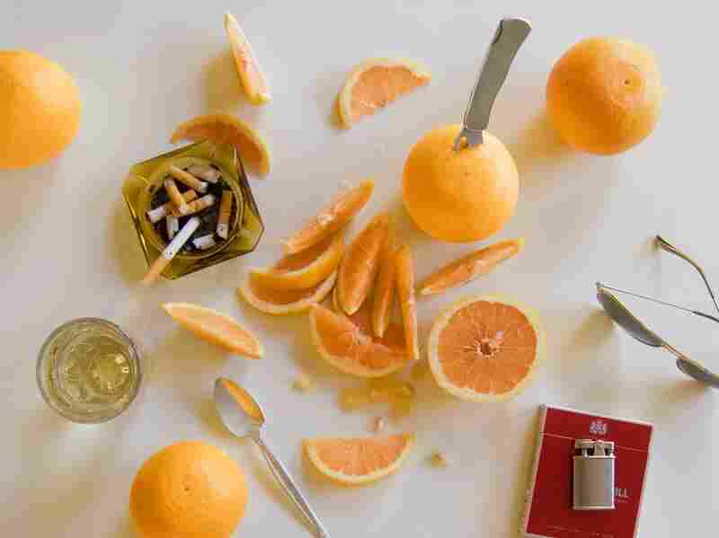 """""""By this time he'd opened a new bottle of tequila and was quaffing it down. Then he grabbed a grapefruit and sliced it in half with a Gerber mini-magnum — a stainless-steel hunting knife with a blade like a fresh-honed razor."""" (Fear and Loathing in Las Vegas by Hunter S. Thompson)"""
