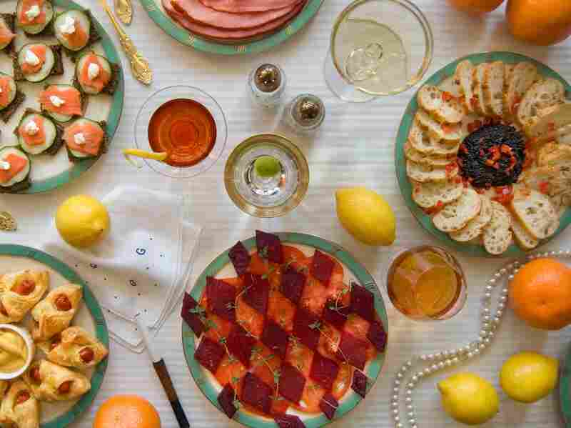 """On buffet tables, garnished with glistening hors-d'oeuvre, spiced baked hams crowded against salads of harlequin designs and pastry pigs and turkeys bewitched to a dark gold."" (The Great Gatsby by F. Scott Fitzgerald)"