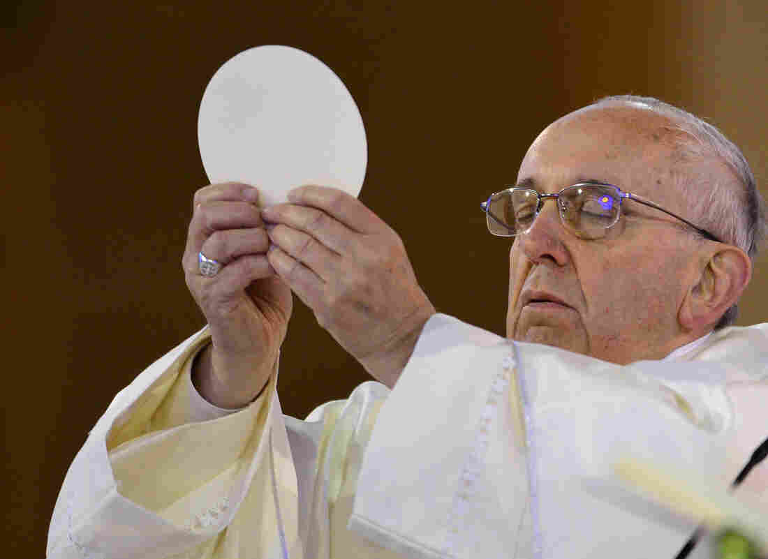 Pope Francis as he celebrated Communion last July in Brazil.
