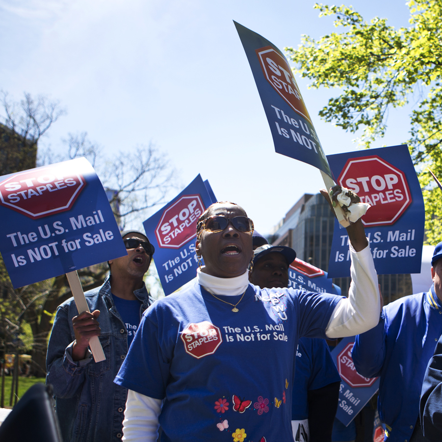About 100 union supporters came to protest in Washington, D.C.