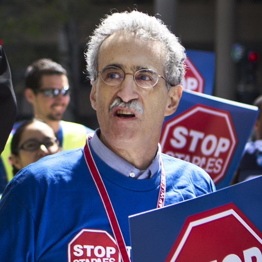 """Eventually these kinda deals are going to shift living wage jobs in the postal system to non-living wage jobs in the retail sector,"" says Mark Dimondstein, president of the American Postal Workers Union, seen participating in Thursday's protest in Washington."