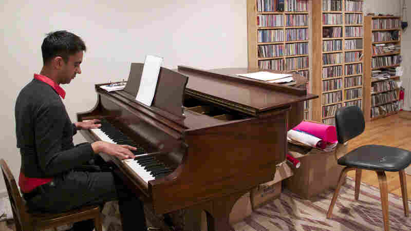 Vijay Iyer practices in his home.