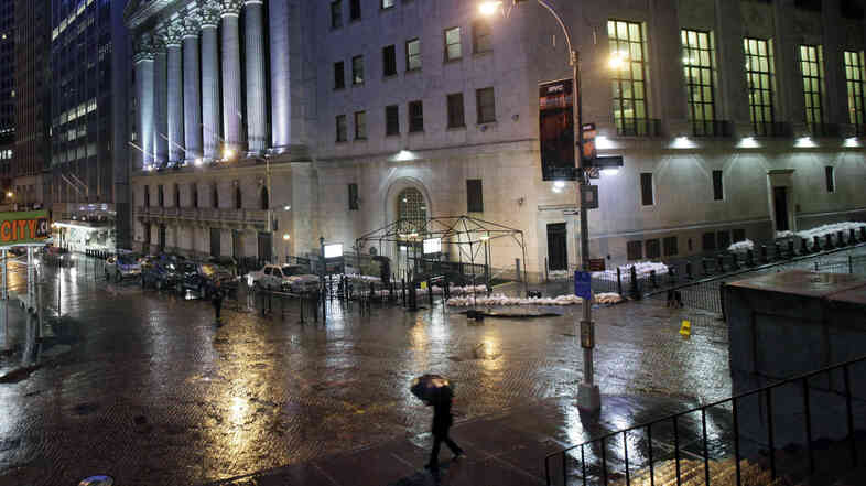 Sandbags protect the front of the New York Stock Exchange on Oct. 29, 2012, in preparation for Hurricane Sandy.