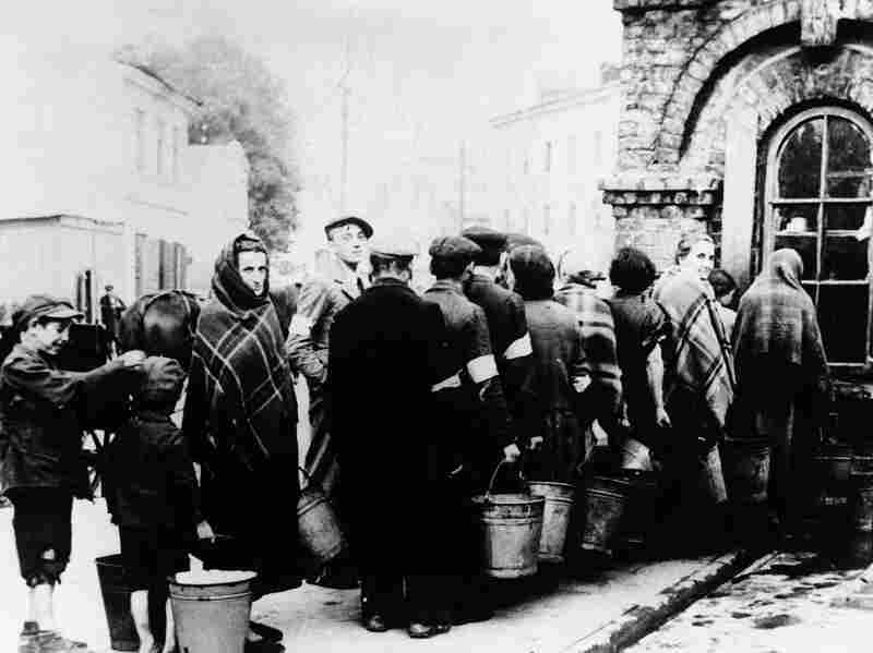 Jews line up in front of a well in a ghetto at Lublin, Poland, Feb. 1, 1941.