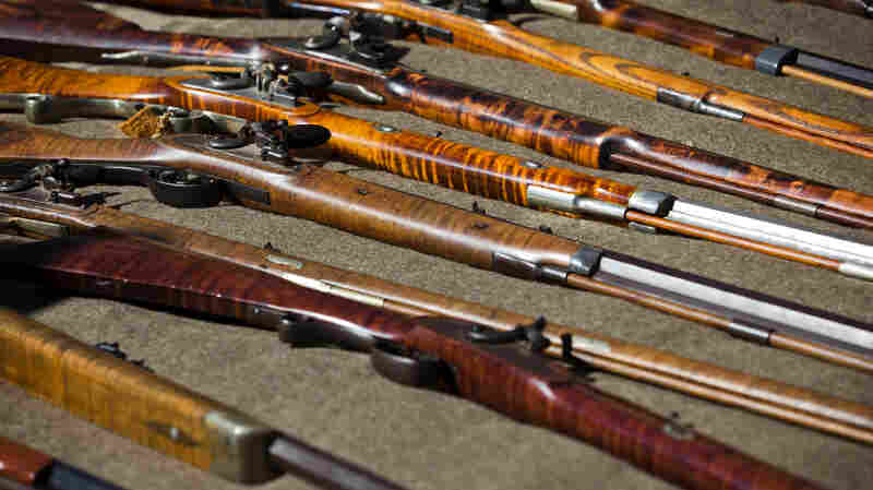 A selection of guns on display.