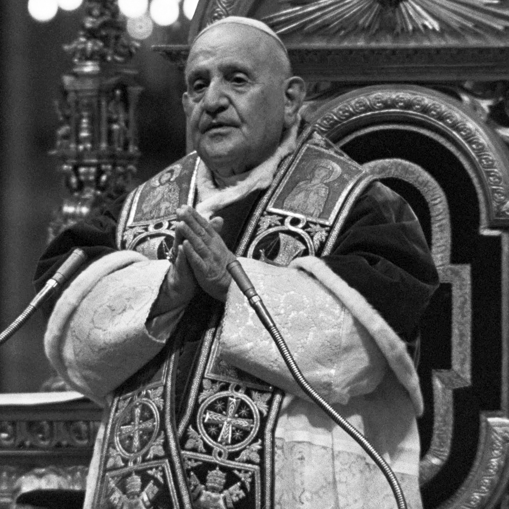 Pope John XXIII, standing in front of his throne on Dec. 8, 1962, at a ceremony for the Second Vactican Council, which addressed the church's relations with the modern world.