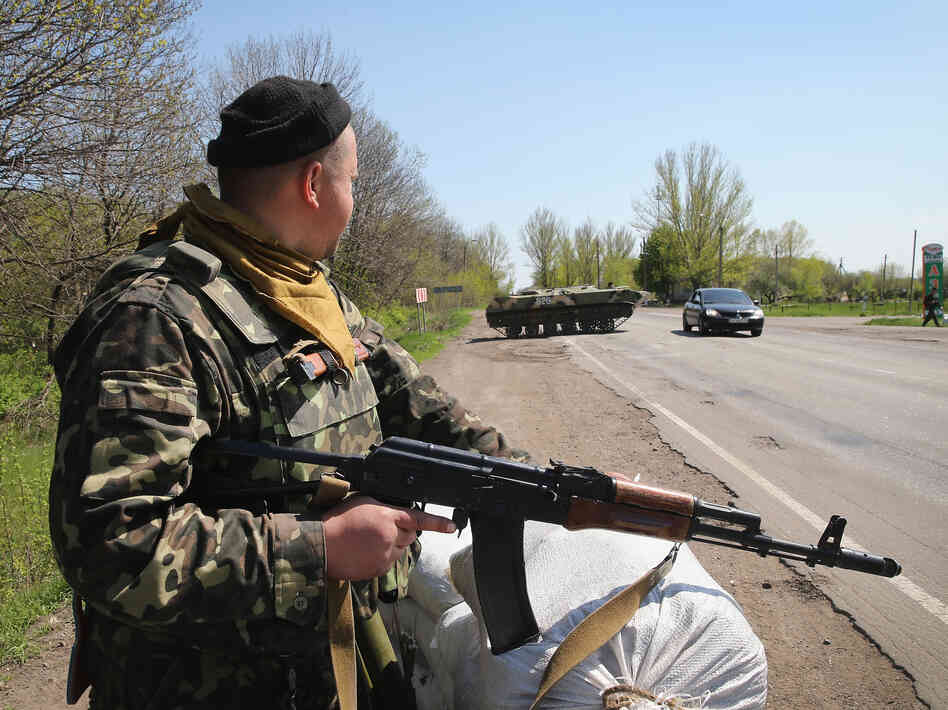 On guard: a Ukrainian soldier at a roadblock near Slovyansk, in eastern Ukraine.