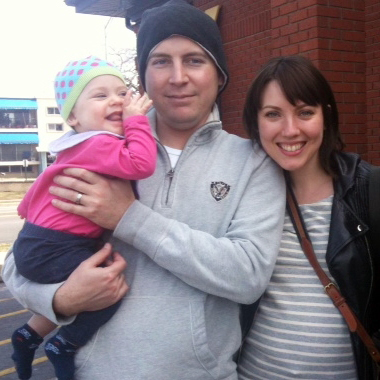 Tim Williams and Rebecca Murray, of Chicago, with their daughter, Margaret (Mugs) Williams