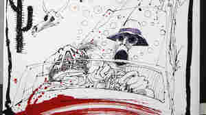 Steadman's drawing of Hunter S. Thompson's car beset by huge bats illustrated Fear and Loathing in Las Vegas in 1971.