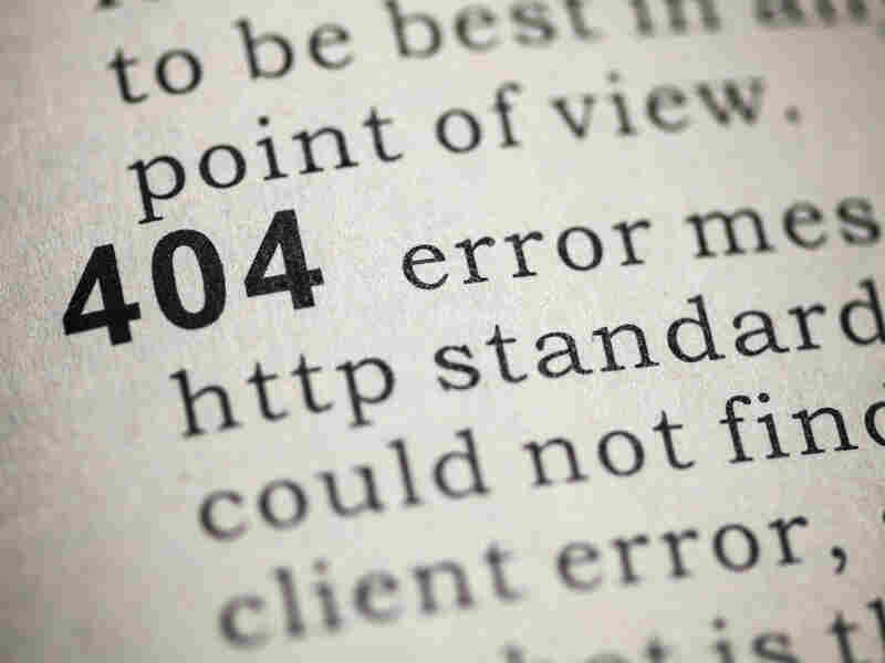 An 404 message appears when the linked page has been moved or deleted.