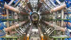 The Large Hadron Collider's ATLAS detector under construction in 2005. ATLAS is one of the tools physicists are using to try and understand how the universe works.