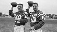 NFL quarterback Earl Morrall, right, seen here with Baltimore Colts teammate Johnny Unitas in 1969, has died at age 79. Morrall played an integral role in the Miami Dolphins' perfect season of 1972.