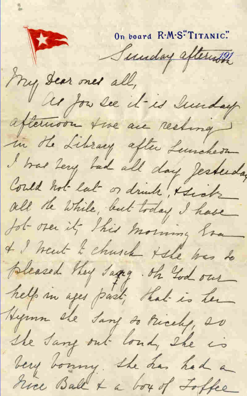 A letter written aboard the Titanic on the day that it sank sold at auction for around $170,000 in England Saturday.