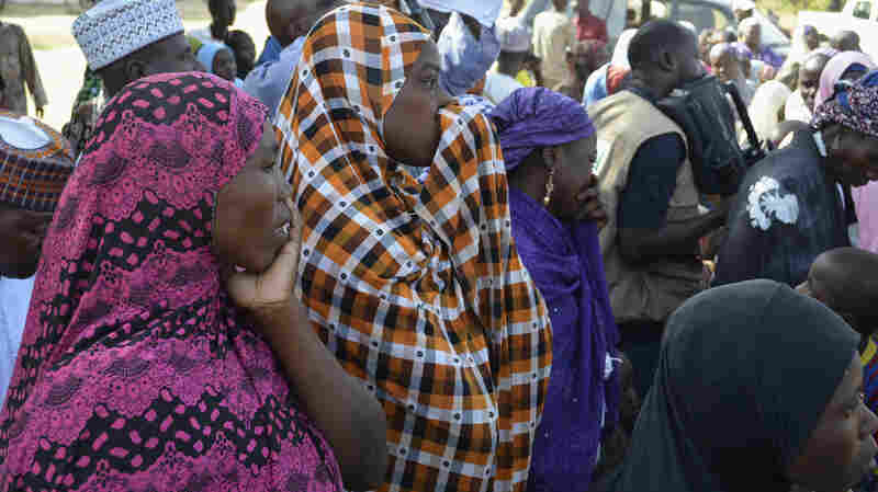 Families of kidnapped schoolgirls attend a meeting with the local government in the remote town of Chibok, Nigeria.