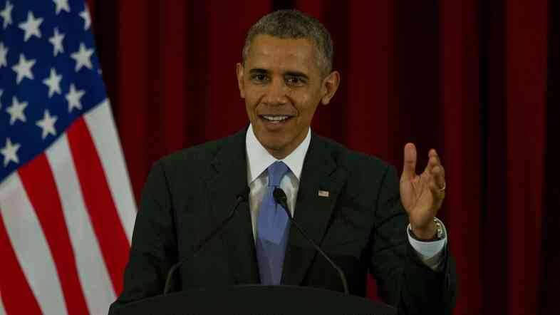 President Obama speaks during a j