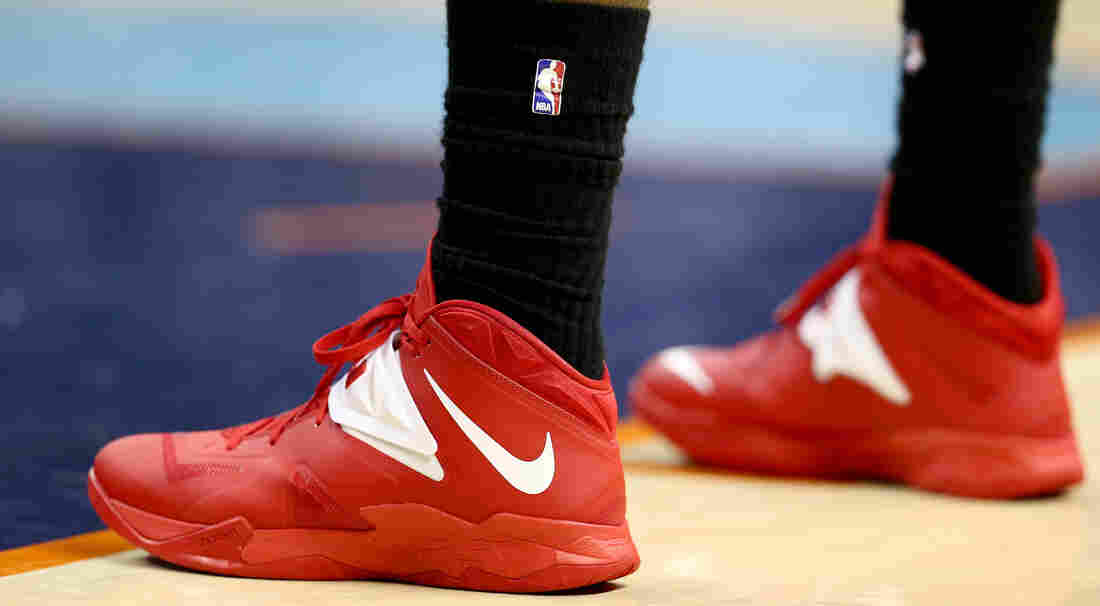 LeBron James of the Miami Heat wears black socks to protest Clippers owner Donald Sterling during the Heat's playoff game Monday against the Charlotte Bobcats. Stars throughout the NBA have offered bitter rebukes of Sterling.