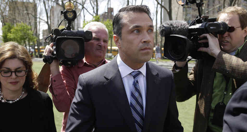 Republican Rep. Michael Grimm of Staten Island arrives for a news conference outside a courthouse in New York on Monday after being indicted on federal charges following a two-year investigation.