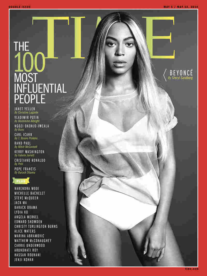 """This image released by Time shows entertainer Beyoncé on the cover of the magazine's """"100 Most Influential People"""" issue."""