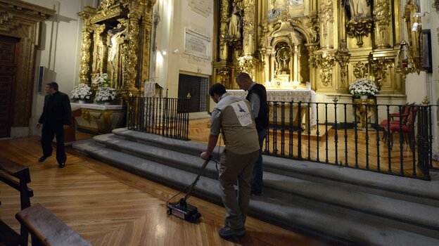 Technicians sweep an area of the Convent of las Trinitarias Descalzas using ground-penetrating radar to search for the remains of Spanish writer Miguel de Cervantes four centuries after his death.