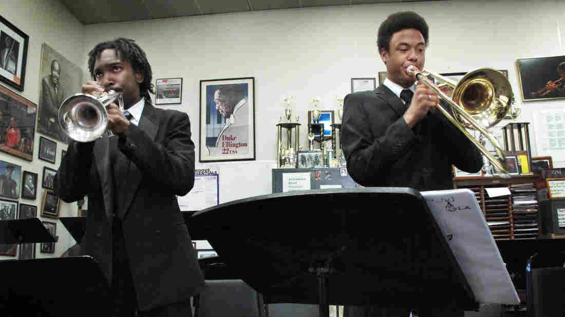 Trumpeter Geraldo Marshall and trombonist Johannes Utas, students at the Duke Ellington School of the Arts, rehearse for their school's 40th anniversary celebration.