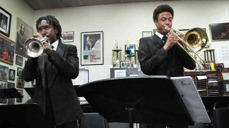 Trumpeter Geraldo Marshall and trombonist Johannes Utas, students at the Duke Ellington School of the Arts, rehearse for their school's 40th anniversary celebration.