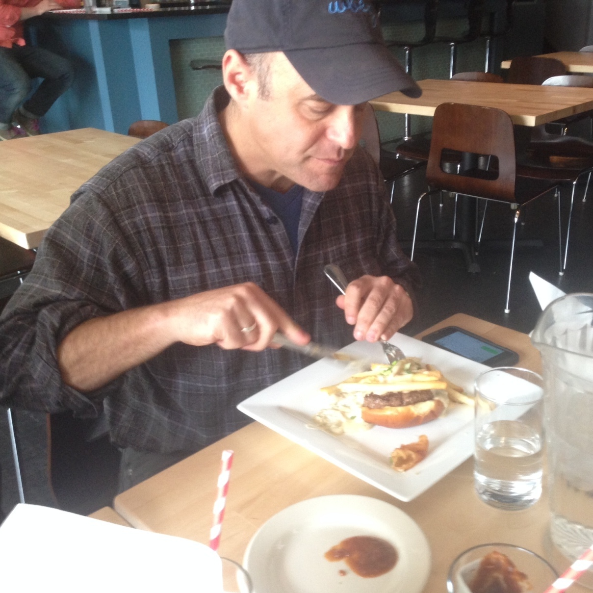 """All of us here were flummoxed by these """"knife"""" and """"fork"""" contraptions required for this sandwich."""