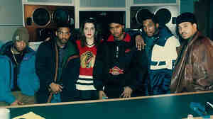 Faith Newman in late 1993 or early '94 at Sony Studios with, from left to right, DJ Premier, Large Professor, Nas, Q-Tip and L.E.S. — all the producers on Illmatic except for Pete Rock.