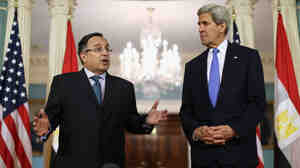 Egyptian Foreign Minister Nabil Fahmy meets with U.S. Secretary of State John Kerry on Tuesday in Washington, D.C.