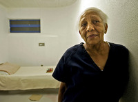 Doris Payne, then 75, poses in her cell at Clark County jail in Las Vegas on Sept. 23, 2005.