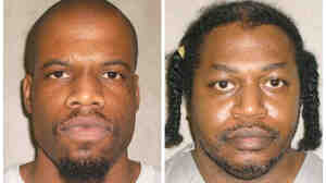 This file photo combo of images provided by the Oklahoma Department of Corrections shows Clayton Lockett, left, and Charles Warner.