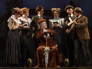 Jefferson Mays, seated center, with the cast during a performance of A Gentleman's Guide to Love and Murder. Tuesday morning, the show received 10 Tony nominations.
