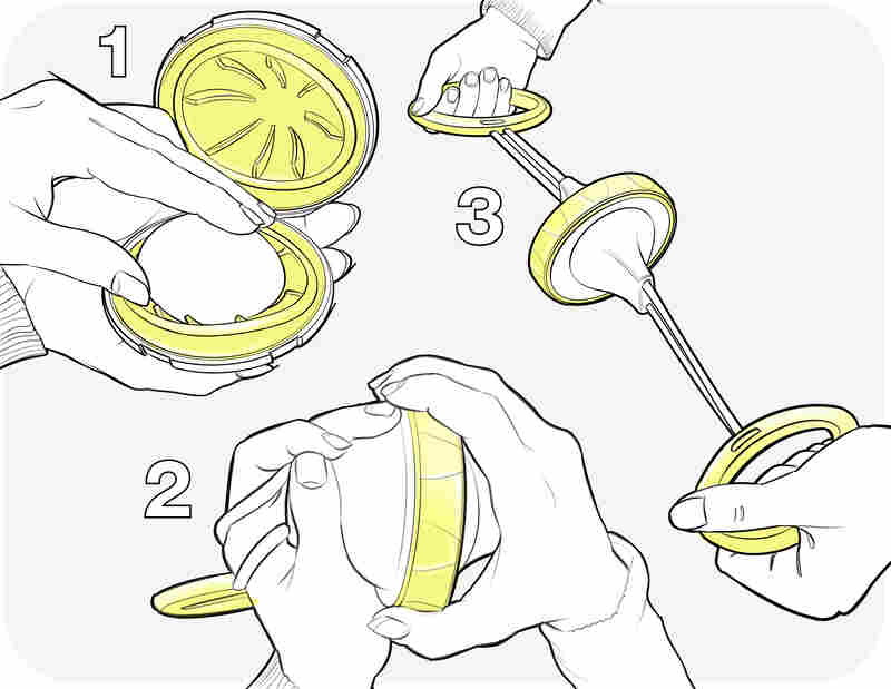 The tool scrambles an egg inside its shell in 15 seconds.